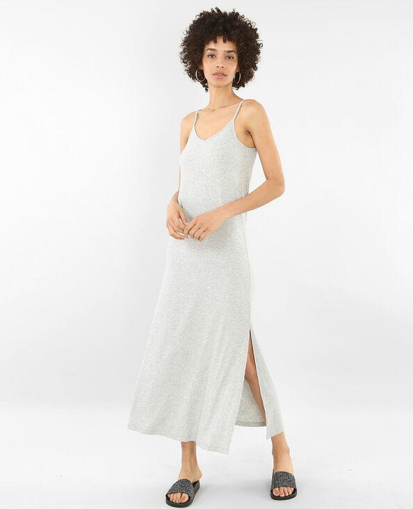 Lange geribbelde jurk gemêleerd grijs