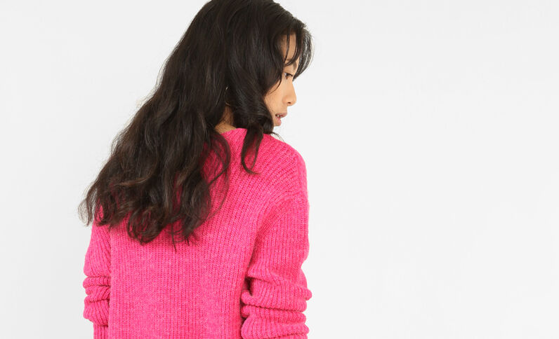 Pull en maille chaude rose