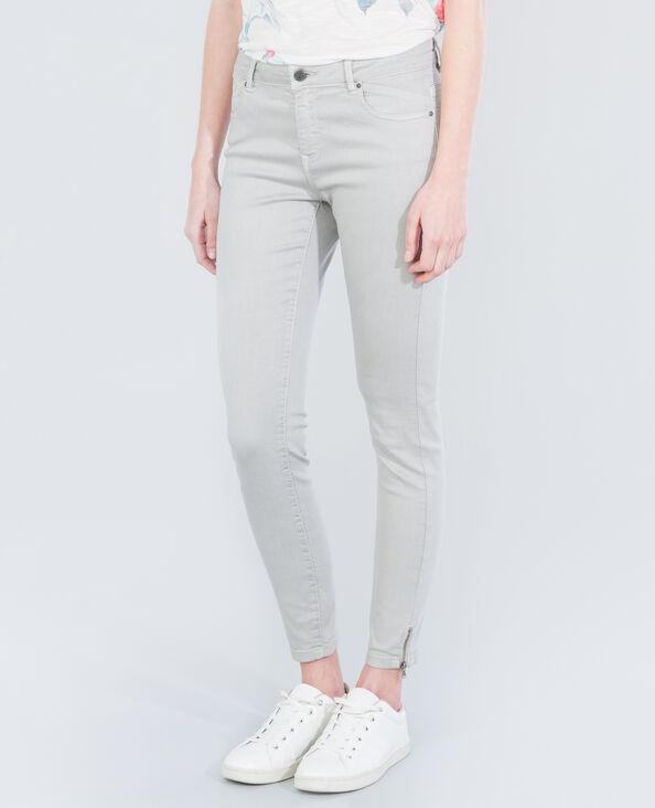 Skinny-Hose mit Reißverschluss Hellbeige