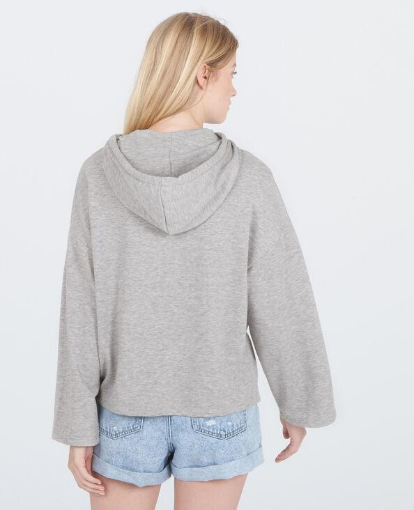 Sweat à capuche homewear gris chiné