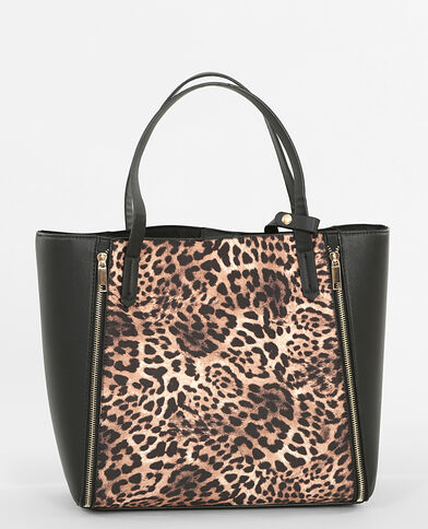 Borsa shopping leopardata nero