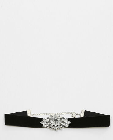 Collier choker brillants gris argenté