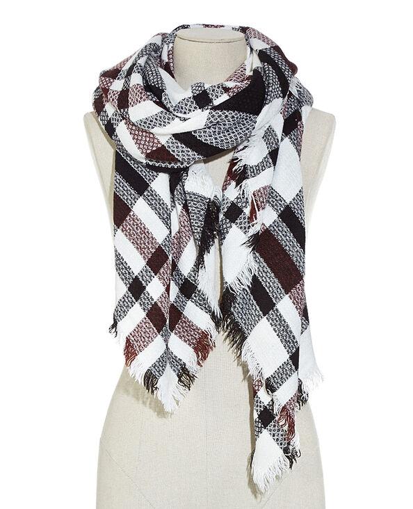 Maxi-Schal mit Karos Naturweiß