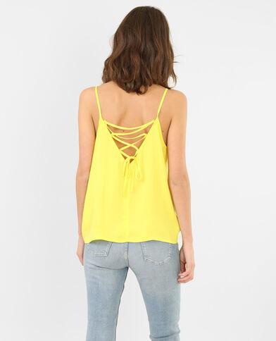 Locker fallendes Top mit geschnürtem Rückenteil gelb