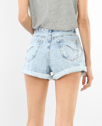 Short en jean délavé bleu délavé