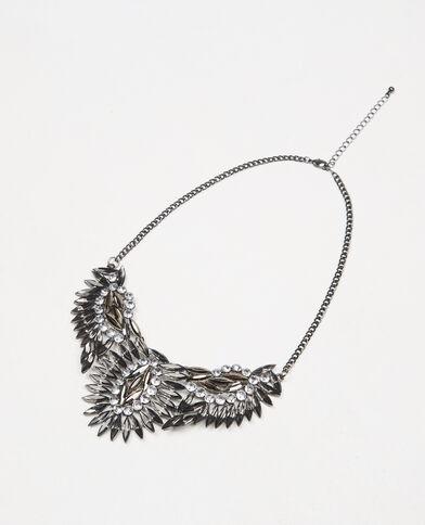 Plastron-Halskette Grau