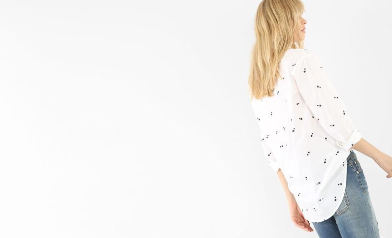 Camicia ricamata stelle bianco
