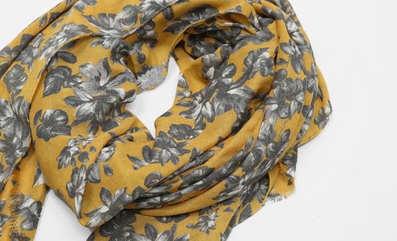 Foulard imprimé fleuri jaune