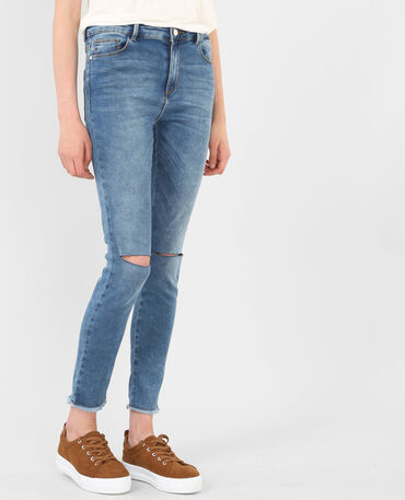 Jeggings mit Zierschnitt am Knie Denimblau