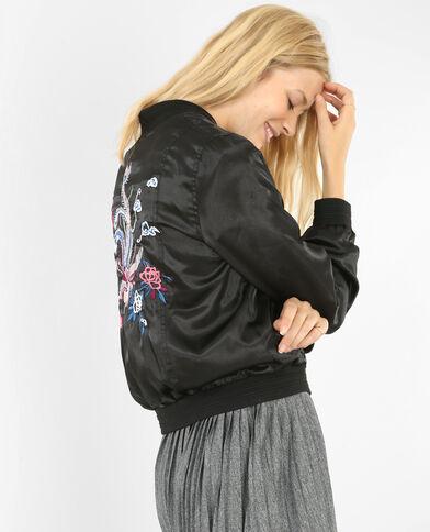 Bomber-Jacke aus besticktem Satin Schwarz