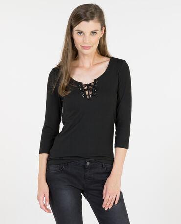 Camiseta con cordones negro