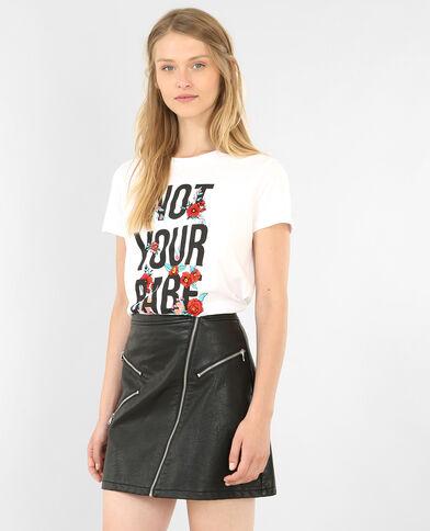 T-shirt met borduursels ecru