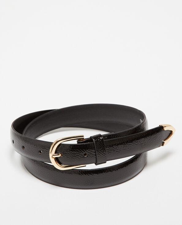 Gürtel aus lackiertem Kunstleder Schwarz