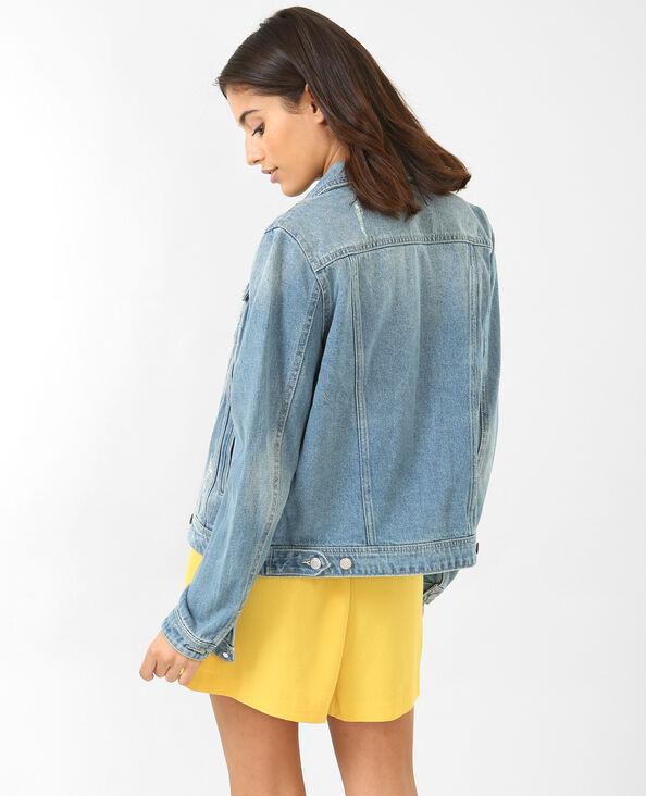 Jeansjasje met glittersteentjes denimblauw