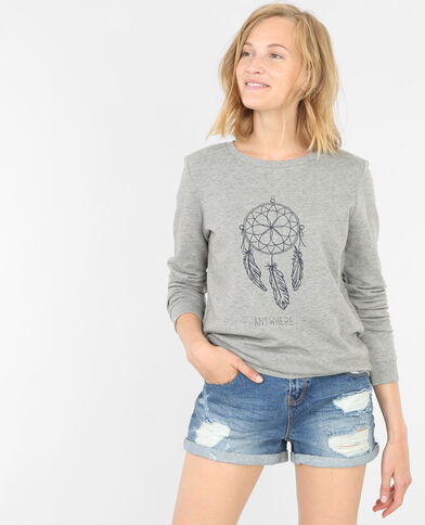 Sweat brodé gris