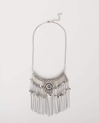 Collana etnica con frange grigio paillettato
