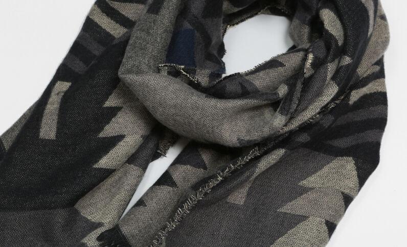 Sciarpa plaid etnica grigio