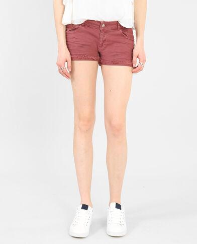 Short revers frangé rouge