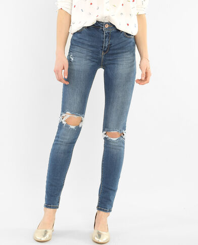 Skinny push up destroy bleu denim