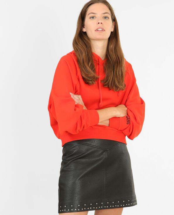 Kurzes Sweatshirt mit Kapuze Rot