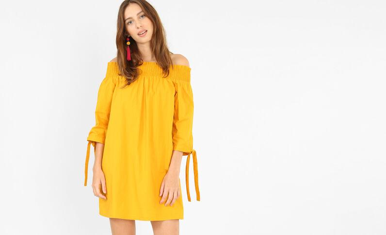 Robe à col bardot jaune moutarde