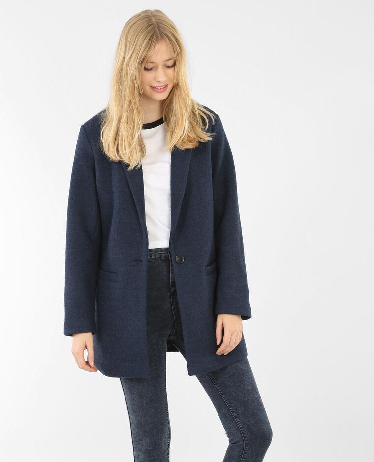 Blazer long drap de laine bleu marine 280066b03a06 pimkie - Blazer bleu marine ...