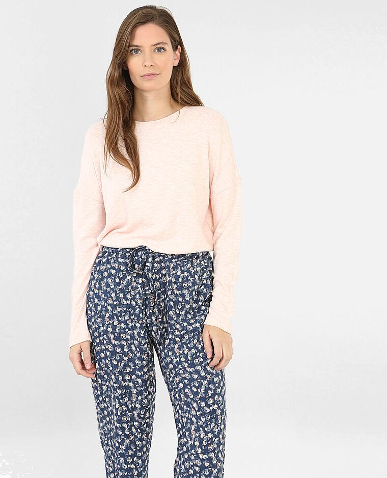 Pantalón de pijama estampado de flores azul índigo
