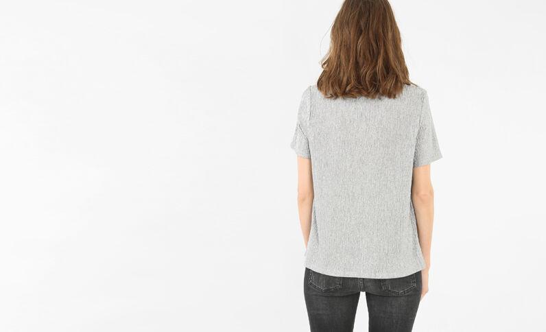 Camiseta metalizada gris brillante