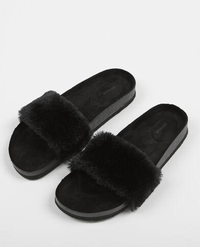 Sandales plates fausse fourrure noir