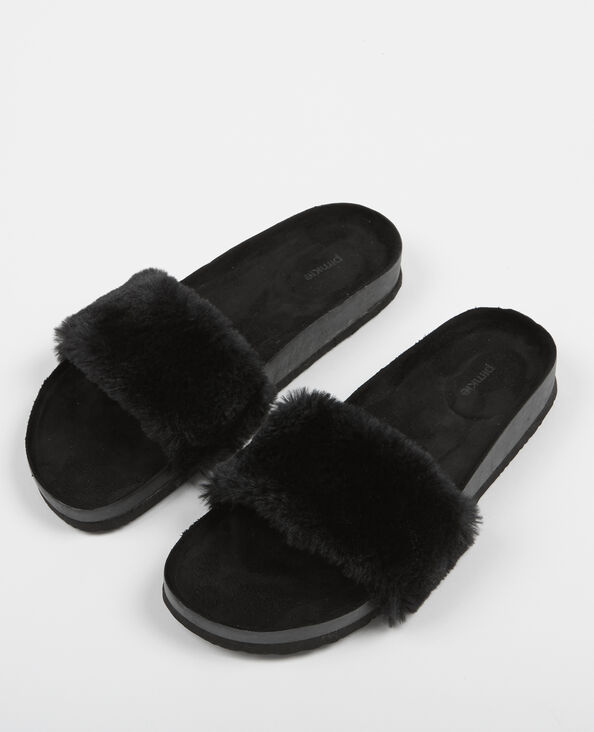 Sandalias planas pelo sintético negro