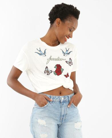 T-Shirt mit Patches Naturweiß