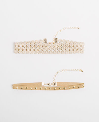 Lot de 2 chokers doré