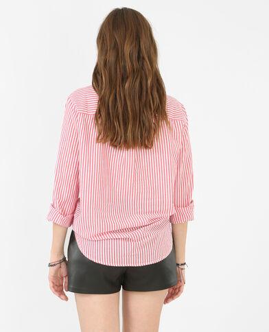 Gestreifte Hemdbluse aus Popeline Rot