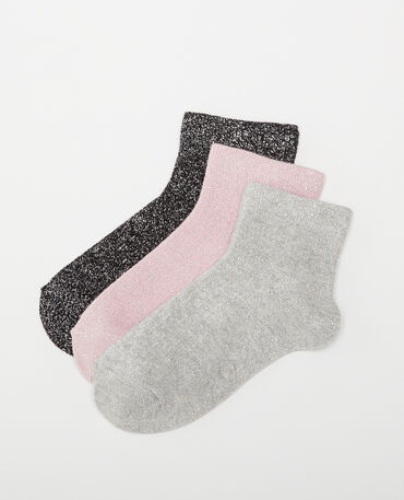 Lot de 3 paires de chaussettes lurex noir