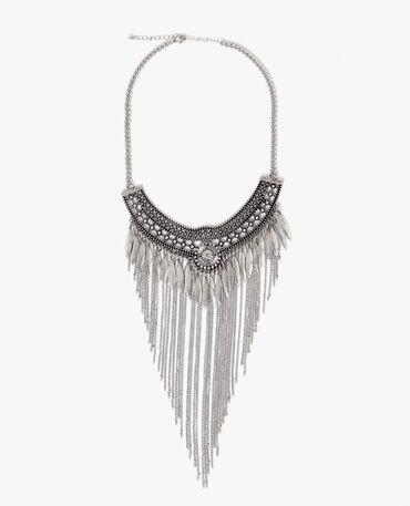 Brede halsketting met franjes zilvergrijs