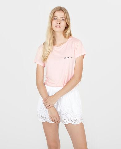 Cropped top beachwear brodé rose