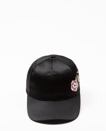 Gorra satinada bordada negro