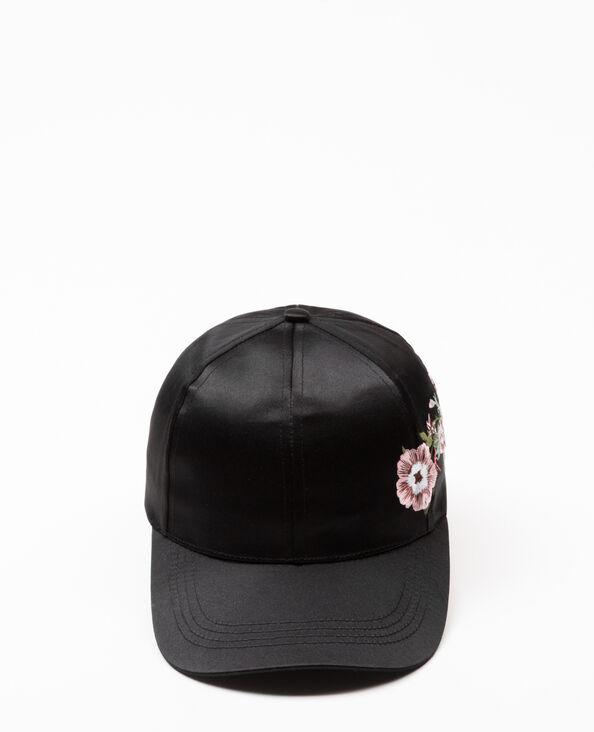 Cappellino satinato ricamato nero