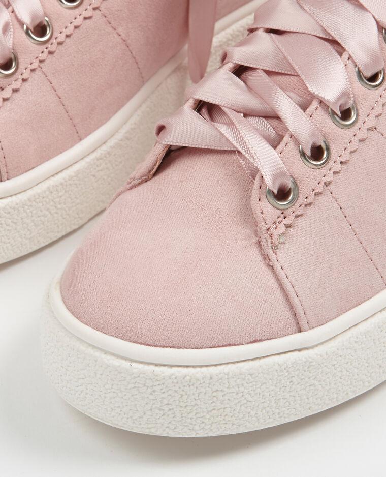 Baskets lacets satinés rose poudré