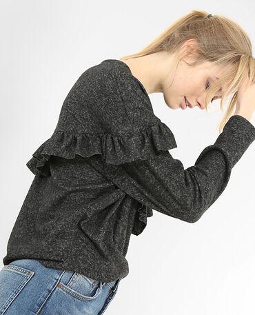 Weicher Pullover mit Rüsche Grau