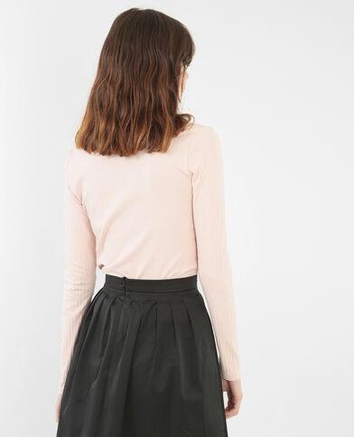 T-shirt con collo chocker rosa
