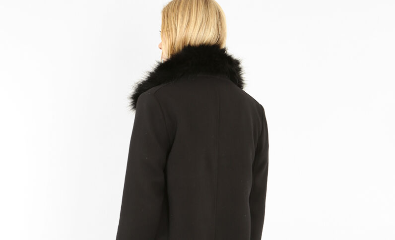 Mantel met rits zwart