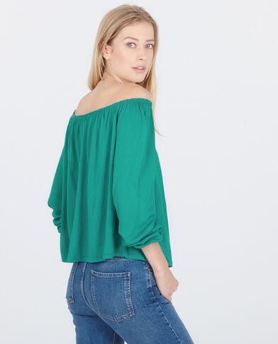 T-shirt collo bardot verde abete