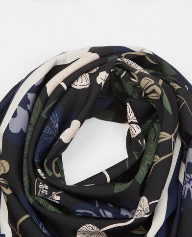 Fular satén estampado floral negro