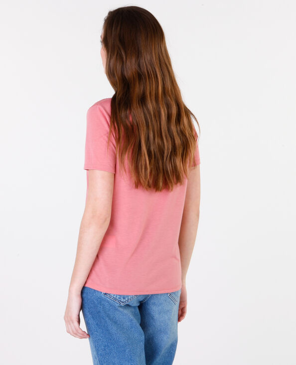 Camiseta básica de encaje rosa