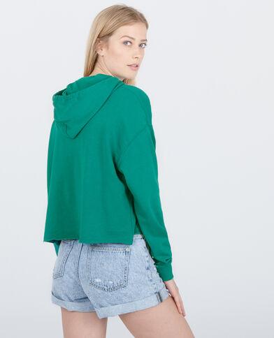 Felpa con cappuccio verde abete