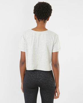 Cropped-T-Shirt mit Schriftzug Grau meliert