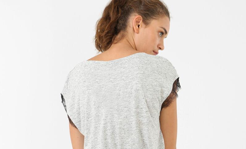 Kanten T-shirt gemêleerd grijs