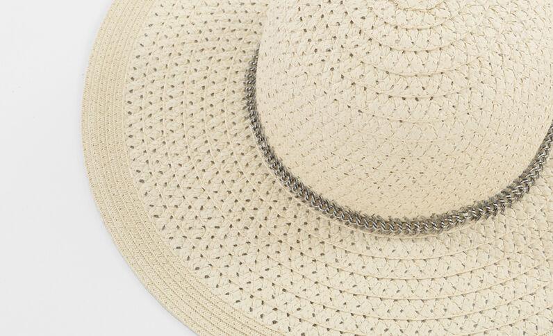 Capeline-Hut mit Schmuck Taupebeige