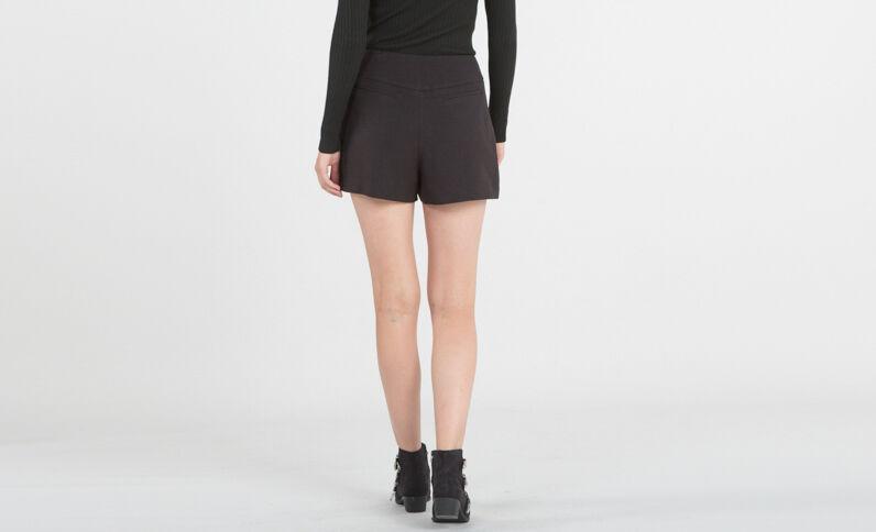 Shorts de talle alto con cremallera negro